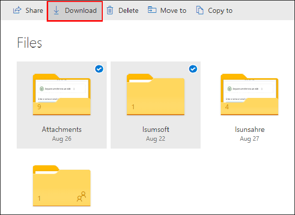 select the files to download