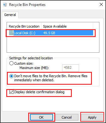 set recycle bin properties