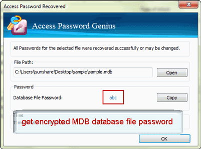 successfully get encrypted MDB database password