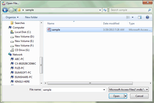 browse and import access 2010 database file