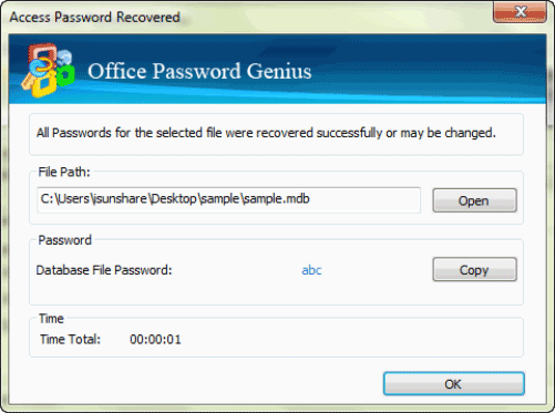 find forgotten access password by Office Password Genius successfully