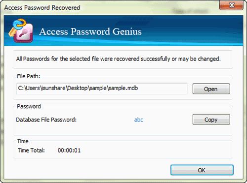 open secured access database with recovered password