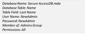 secured access database attributes