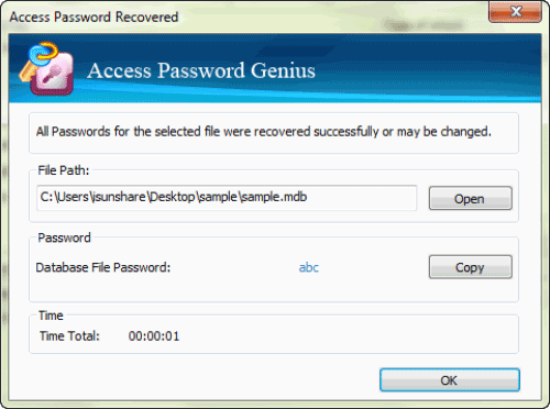 unlock access database with password recovery