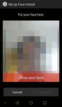 pick your face as screen lock