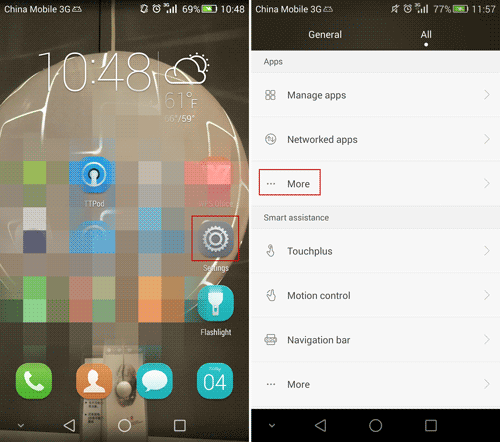 change messages settings on Huawei Android
