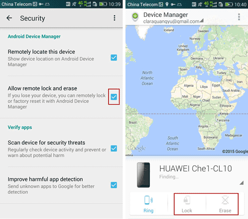 enable remotely lock or erase data on Android device