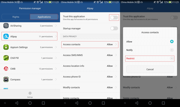 manage app permissions on Huawei Android