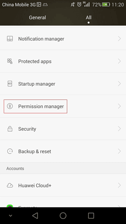 open permission manager on Huawei Android