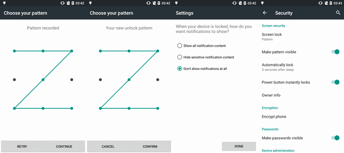 lock Google Android screen with pattern