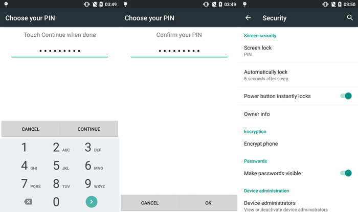 lock google android screen with pin