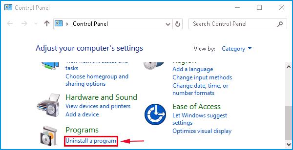 click the uninstall a program under programs