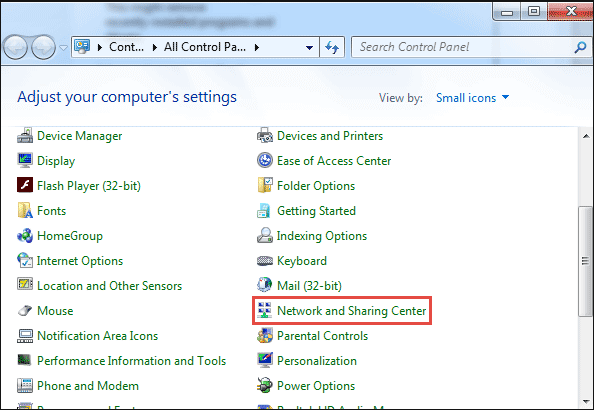 find network and sharing center