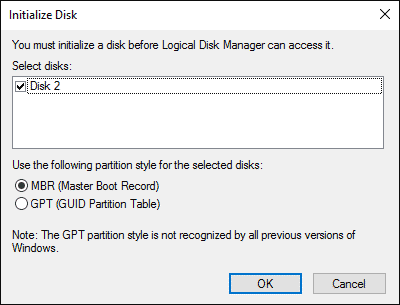 initialize disk settings