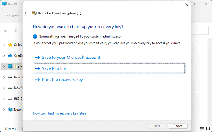 how to back up recovery key