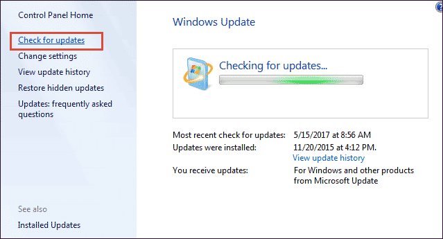 begin updating from Windows