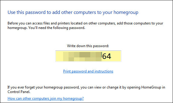 password of homegroup