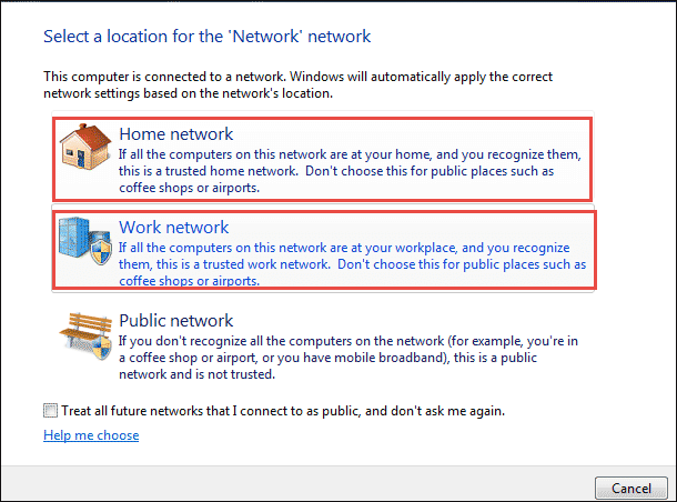 set network location