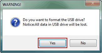 confirm to format usb drive