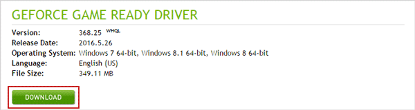 download latest version of your nvidia display driver