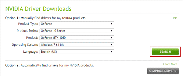 specify nvidia display driver to search