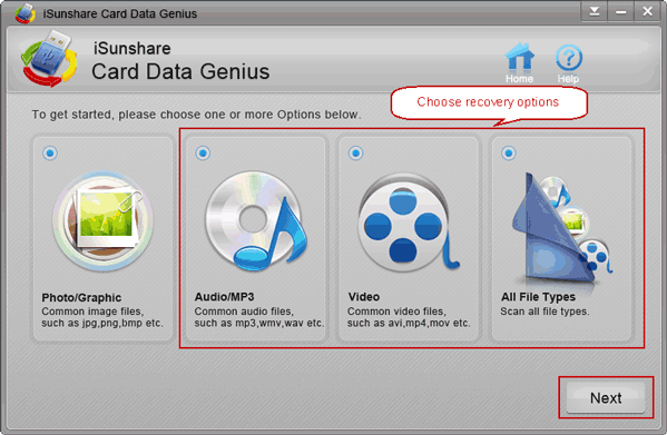 choose card data recovery option