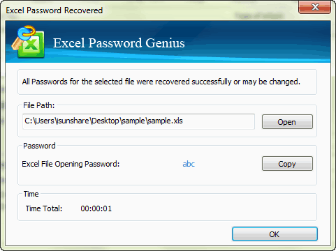 successfully recovery Excel password