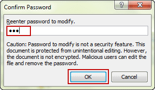 confirm excel file modify password