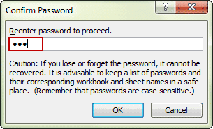 confirm excel file open password