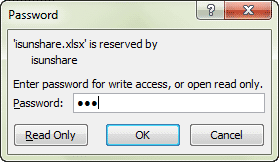 enter excel file modify password for write access