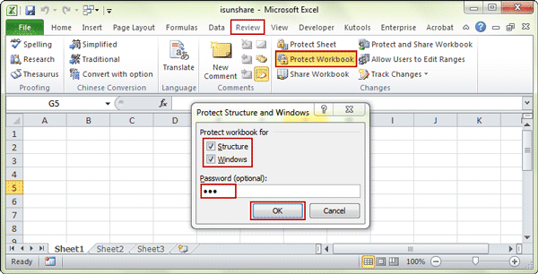 enter password to protect workbook structure and window