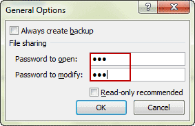 put open and modify password on excel file