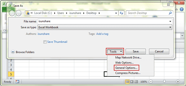 select general options in tools