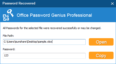 recover xlsx password successfully