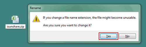 change excel file name extensions to zip