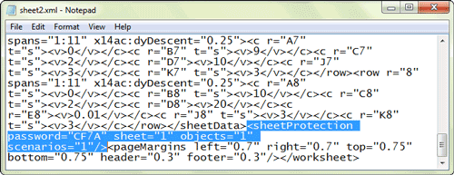 delete sheet protection tag in xml file