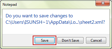 save changes to sheet xml file