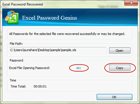 You will find excel file password shown in new window about few ...