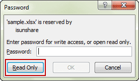 open encrypted excel file in read only mode