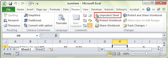 code to unprotect excel sheet 2013