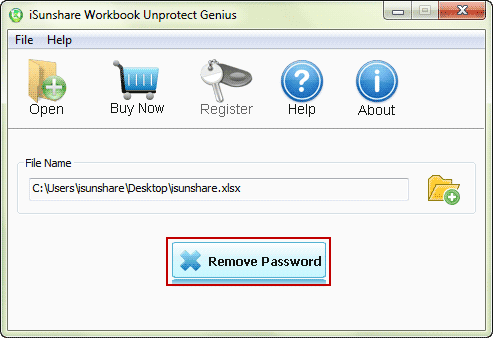 tap on remove password to unprotect excel workbook