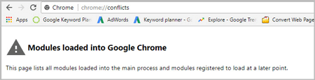 go to google chrome conflicts page