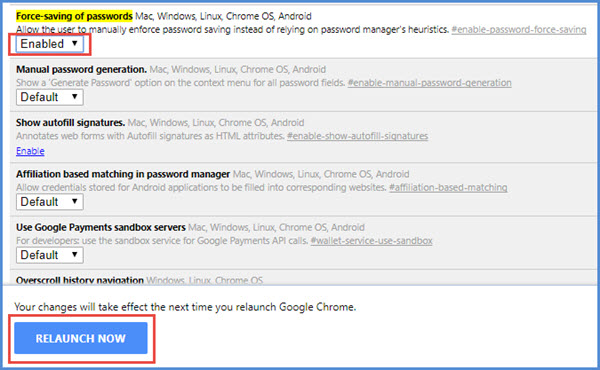 force saving password in chrome