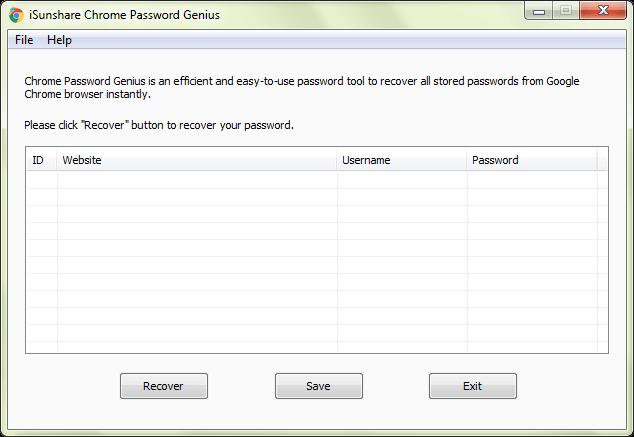 iSunshare Chrome Password Genius User Guide