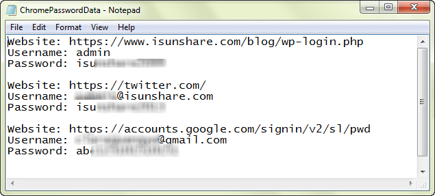 view username and password for stored website in exported file