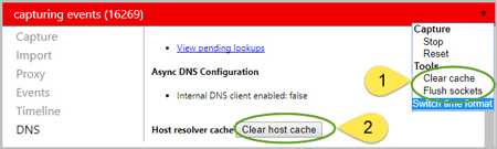 clear cache by changing the system hosts