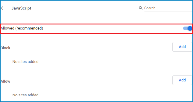 how to turn off javascript on google chrome