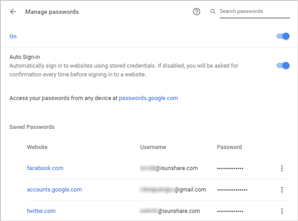 find Chrome saved passwords from syncing devices