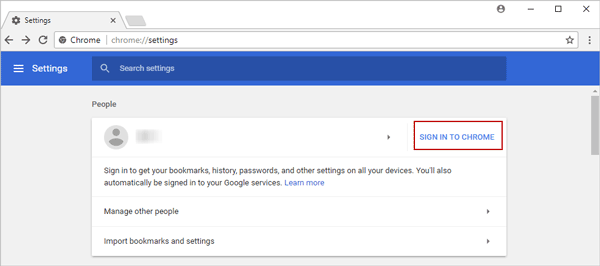 sign in to chrome with synced google account