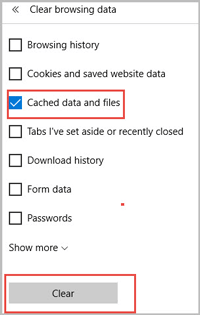 clear microsoft edge cache in clear browsing data window